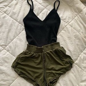 Army green faux suede shorts